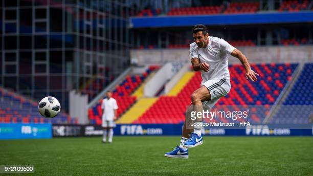 Luis Figo of UEFA football advisor shoots on goal during the FIFA Congress Delegation Football Tournament at CSKA Arena during the on June 12 2018 in...