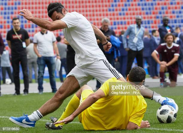 Luis Figo of UEFA in action during FIFA Congress Delegation Football Tournament at Arena CSKA stadium on June 12 2018 in Moscow Russia
