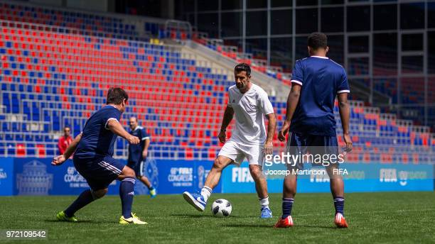 Luis Figo UEFA football advisor controls the ball during the FIFA Congress Delegation Football Tournament at CSKA Arena during the on June 12 2018 in...