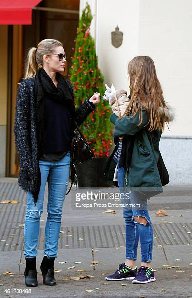 Luis Figo's wife Helen Svedin and her daughter Daniela Figo are seen on December 13 2015 in Madrid Spain