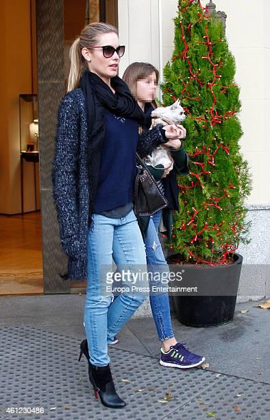 Luis Figo's wife Helen Svedin and her daughter Daniela Figo are seen on December 13, 2015 in Madrid, Spain.