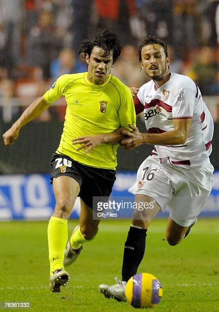 Luis Filipe of Braga and Antonio Puerta of Sevilla in action during a UEFA Cup match between Braga and Sevilla at Ramon Sanchez Pizjuan Stadium on...