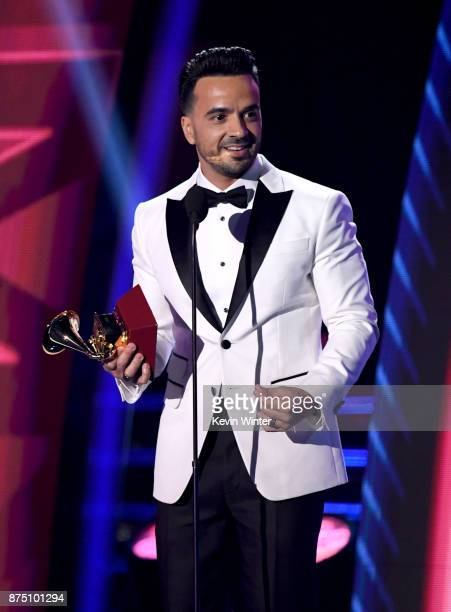 Luis Fonsi accepts Record of the Year for 'Despacito' onstage at the 18th Annual Latin Grammy Awards at MGM Grand Garden Arena on November 16 2017 in...