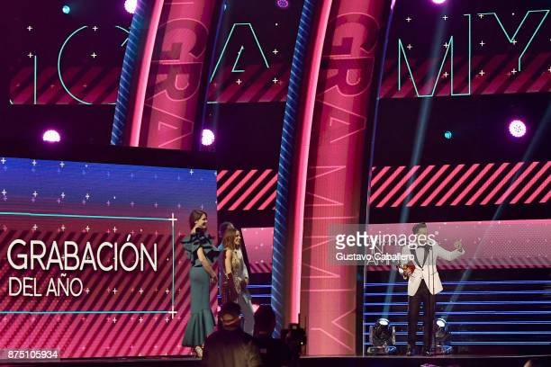 Luis Fonsi accepts Record of the Year for 'Despacito' onstage during The 18th Annual Latin Grammy Awards at MGM Grand Garden Arena on November 16...