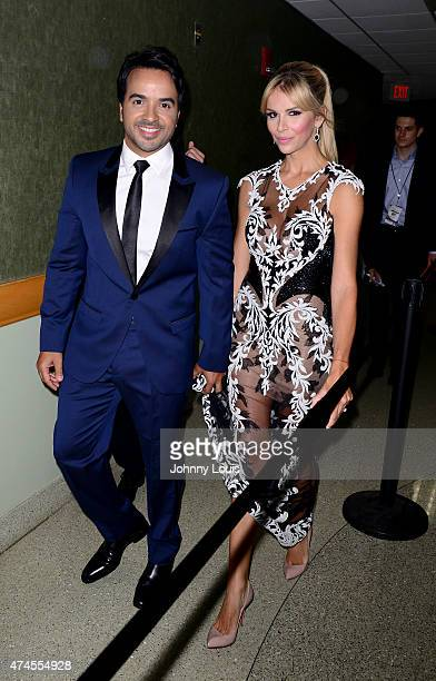 Luis Fonsi and Agueda Lopez backstage at 2015 Billboard Latin Music Awards presented by State Farm on Telemundo at Bank United Center on April 30...