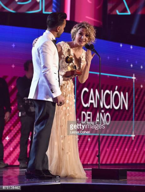 Luis Fonsi and Erika Ender accept the award for Song of the Year for 'Despacito' onstage during The 18th Annual Latin Grammy Awards at MGM Grand...
