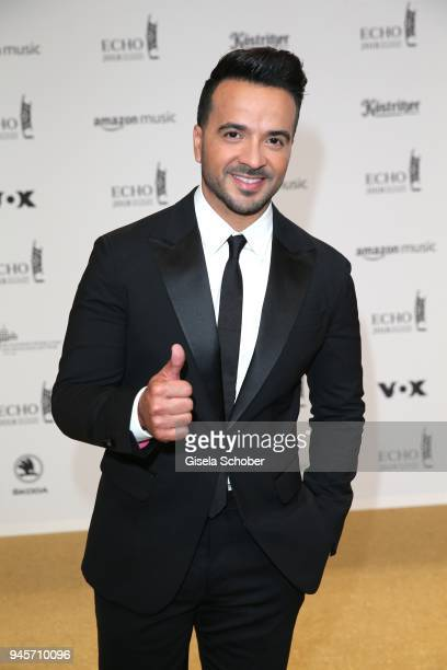 Luis Fonsi arrives for the Echo Award at Messe Berlin on April 12 2018 in Berlin Germany