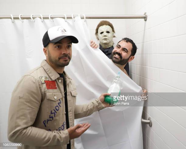 Luis Fonsi Enrique Santos and Michael Myers seen at The Enrique Santos Show At I Heart Latino Studios on October 15 2018 in Miramar Florida