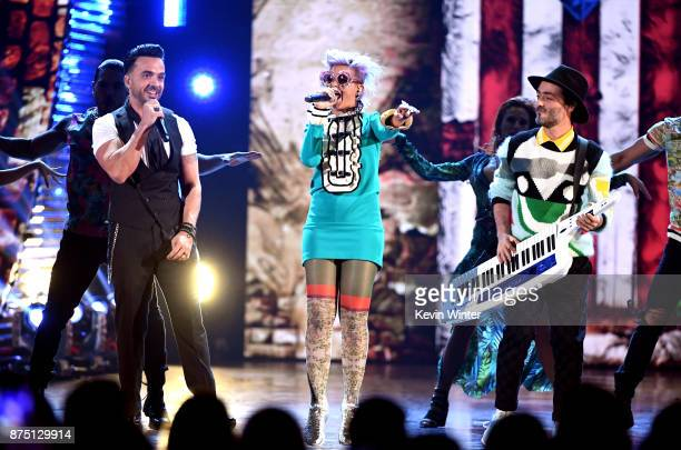 Luis Fonsi Li Saumet and Simon Mejia perform onstage at the 18th Annual Latin Grammy Awards at MGM Grand Garden Arena on November 16 2017 in Las...