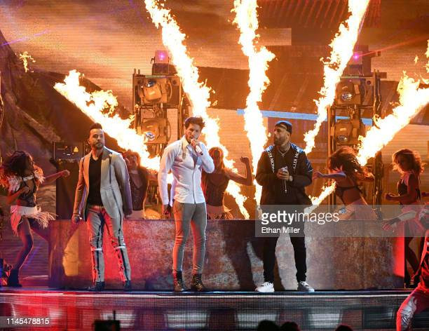 Luis Fonsi Sebastian Yatra and Nicky Jam perform during the 2019 Billboard Latin Music Awards at the Mandalay Bay Events Center on April 25 2019 in...