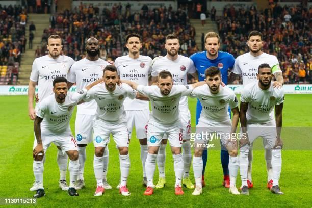 Luis Francisco Grando of Antalyaspor AS Souleymane Doukara of Antalyaspor AS Bahadir Ozturk of Antalyaspor AS Ondrej Celustka of Antalyaspor AS...