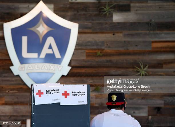 Luis Fregoso a Galaxy fan waits to donate blood inside the Stadium club at Dignity Health Sports Park in Carson on Thursday May 21 2020 This was the...