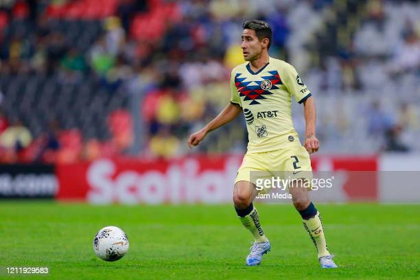 Luis Fuentes of America drives the ball during a quarter final first leg match between Club America and Atlanta United as part of CONCACAF Champions...