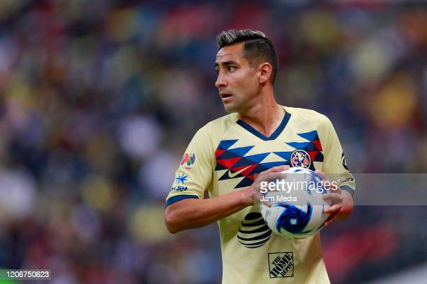 Luis Fuentes of America looks on during the 6th round match between America and Atlas as part of the Torneo Clausura 2020 Liga MX at Azteca Stadium...