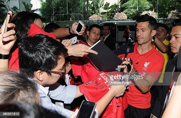 Luis Garcia ambassador of Liverpool arrives at Bangkok airport for the start of the Pre Season tour on July 13 2015 in Bangkok Thailand