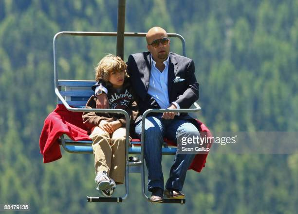 Luis Garcia Fanjul best man at the wedding of Boris Becker and Becker's younger son Elias ride a ski lift to the wedding brunch reception of former...