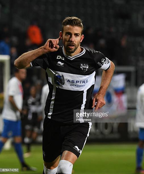 Luis Garcia Fernandez forward of Eupen celebrates with teammates after scoring pictured during Croky cup 1/8 F match between KASEupen and Club Brugge...