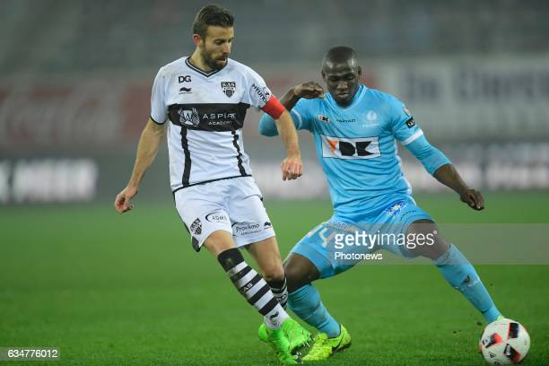 Luis Garcia Fernandez forward of Eupen is challenged by Anderson Esiti midfielder of KAA Gent during the Jupiler Pro League match between KAA Gent...
