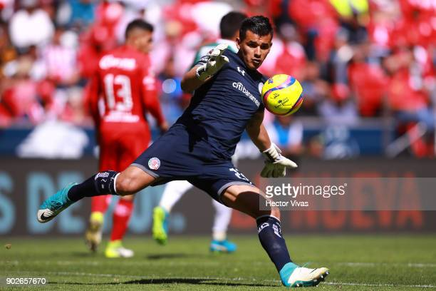 Luis Garcia goalkeeper of Toluca kicks the ball during the first round match between Toluca and Chivas as part of the Torneo Clausura 2018 Liga MX at...