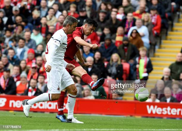 Luis Garcia liverpool fc Legend with Alessandro Costacurta of Milan Glorie during the friendly match between Liverpool FC Legends and AC Milan Glorie...
