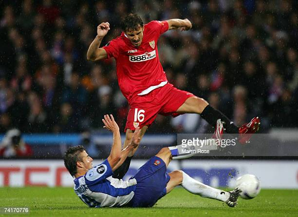 Luis Garcia of Espanyol battles for the ball with Antonio Puerta of Sevilla during the UEFA Cup Final between Espanyol and Sevilla at Hampden Park on...