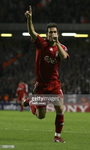 Luis Garcia of Liverpool celebrates scoring his team's third goal during the UEFA Champions League Group C match between Liverpool and Bordeaux at...