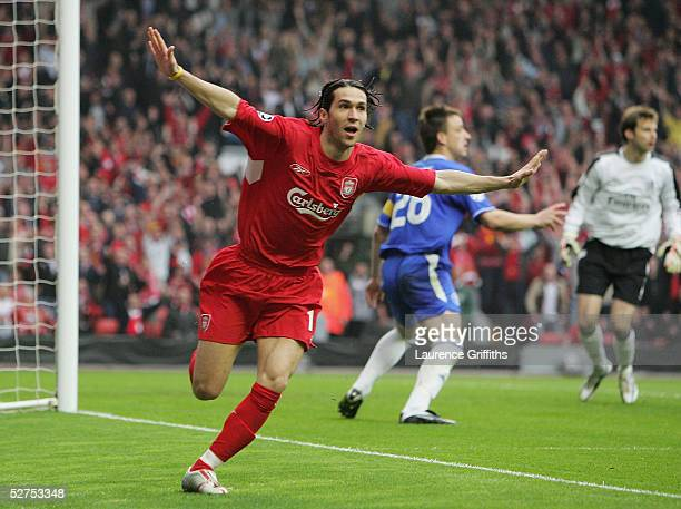 Luis Garcia of Liverpool celebrates scoring the opening goal during the UEFA Champions League semi-final second leg match between Liverpool and...