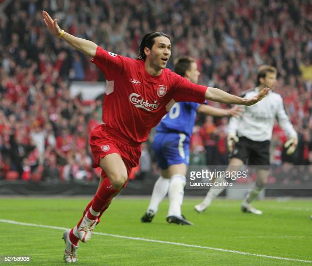 Luis Garcia of Liverpool celebrates scoring the opening goal during the UEFA Champions League semifinal second leg match between Liverpool and...
