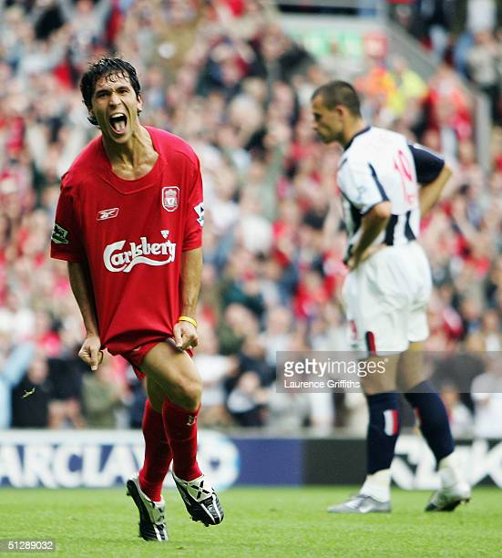 Luis Garcia of Liverpool celebrates scoring the third goal during the FA Barclays Premiership match between Liverpool and West Bromwich Albion at...