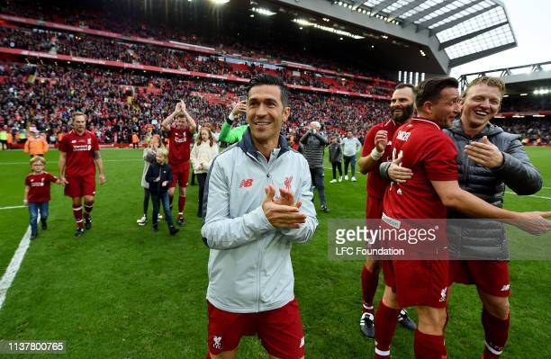 Luis Garcia of Liverpool FC Legends showing his appreciation to the fans at the end of the friendly match between Liverpool FC Legends and AC Milan...