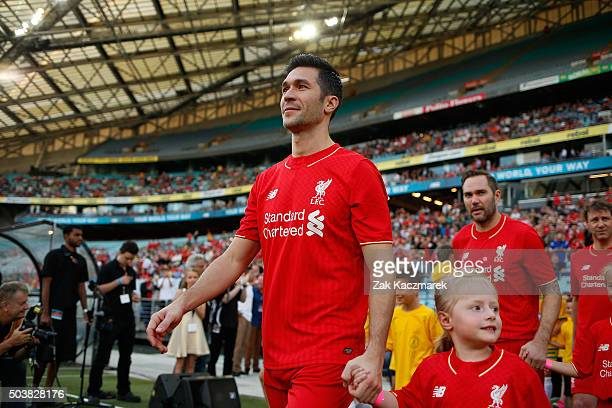 Luis Garcia of Liverpool FC Legends takes to the field before the match between Liverpool FC Legends and the Australian Legends at ANZ Stadium on...