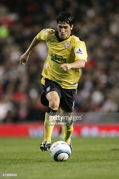 Luis Garcia of Liverpool in action during the Barclays Premiership match between Manchester United and Liverpool at Old Trafford on September 20 2004...