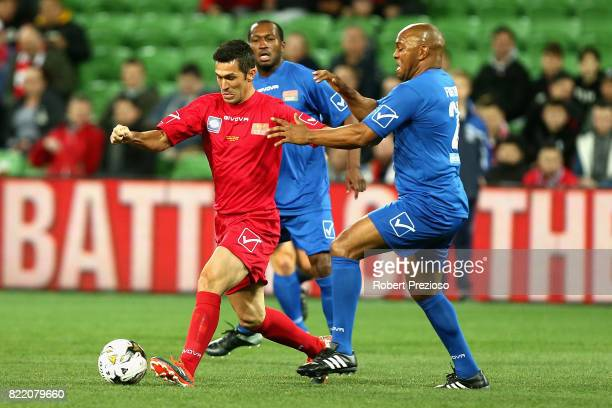 Luis Garcia of Liverpool Legends controls the ball during the match between the Liverpool Legends and the Manchester United Legends at AAMI Park on...