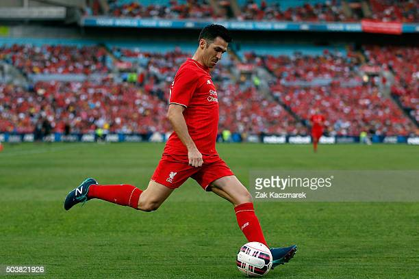 Luis Garcia of Liverpool Legends FC looks to cross during the match between Liverpool FC Legends and the Australian Legends at ANZ Stadium on January...