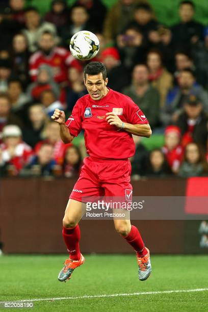 Luis Garcia of Liverpool Legends heads the ball during the match between the Liverpool Legends and the Manchester United Legends at AAMI Park on July...