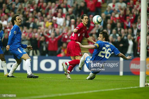 Luis Garcia of Liverpool scores during the second leg of the UEFA Champions League Semi Final between Liverpool and Chelsea at Anfield on May 3 2005...