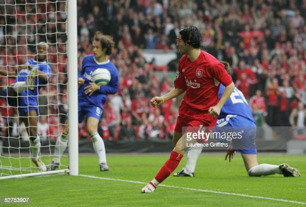 Luis Garcia of Liverpool scores the opening goal during the UEFA Champions League semi-final second leg match between Liverpool and Chelsea at...