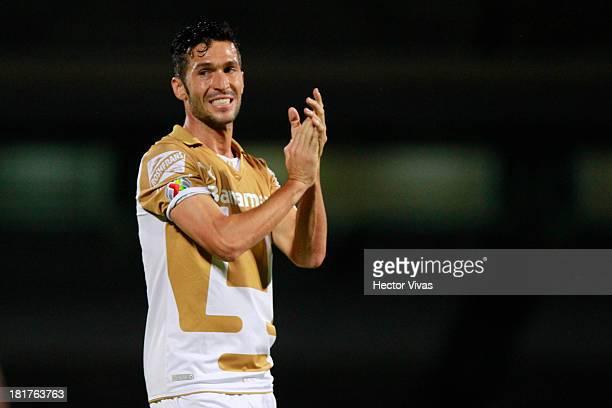Luis Garcia of Pumas celebrate during a match between Pumas and Queretaro as part of the Copa MX at Olimpico Universitario stadium on September 24...