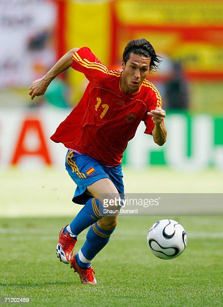 Luis Garcia of Spain attacks with the ball during the FIFA World Cup Germany 2006 Group H match between Spain and Ukraine played at the...