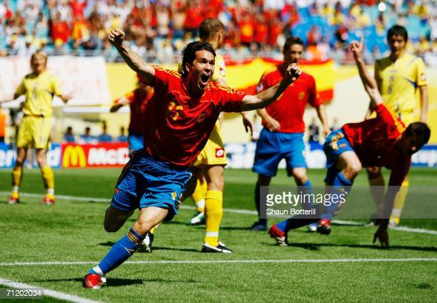 Luis Garcia of Spain celebrates after teammate Xabi Alonso scored the opening goal during the FIFA World Cup Germany 2006 Group H match between Spain...