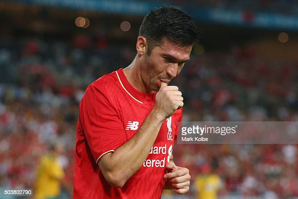 Luis Garcia of the Liverpool FC Legends celebrates scoring a goal during the match between Liverpool FC Legends and the Australian Legends at ANZ...