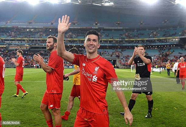 Luis Garcia of the Liverpool Legends and team mates thank fans after the match between Liverpool FC Legends and the Australian Legends at ANZ Stadium...