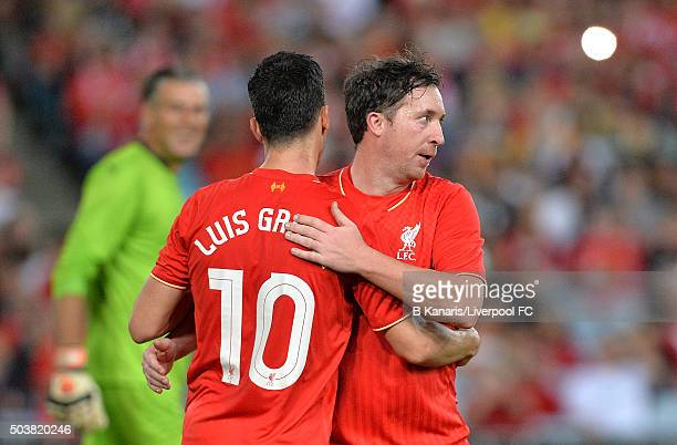 Luis Garcia of the Liverpool Legends celebrates scoring a goal with team mate Robbie Fowler during the match between Liverpool FC Legends and the...