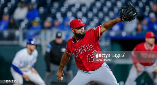 Luis Garcia of the Los Angeles Angels of Anaheim pitches in the eighth inning during the game against the Kansas City Royals at Kauffman Stadium on...