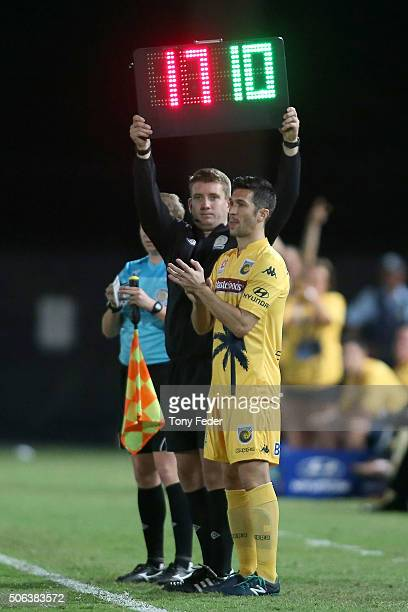 Luis Garcia of the Mariners about to come on for his first game for the Mariners during the round 16 ALeague match between the Central Coast Mariners...