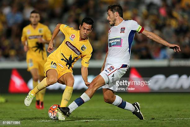 Luis Garcia of the Mariners contests the ball against Mateo Poljak of the Jets during the round 27 ALeague match between the Central Coast Mariners...