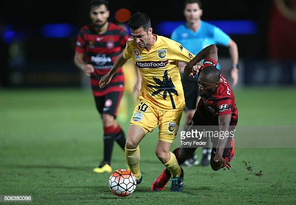 Luis Garcia of the Mariners contests the ball with Romeo Castelen of the Wanderers during the round 16 ALeague match between the Central Coast...