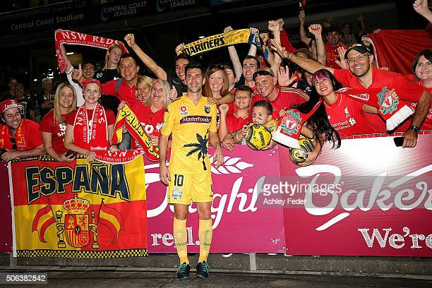 Luis Garcia of the Mariners poses for photos with fans after the round 16 ALeague match between the Central Coast Mariners and the Western Sydney...