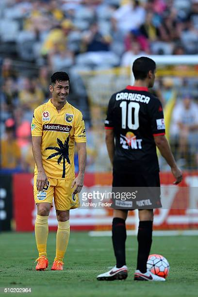 Luis Garcia of the Mariners questions a decision during the round 19 ALeague match between the Central Coast Mariners and Adelaide United at Central...