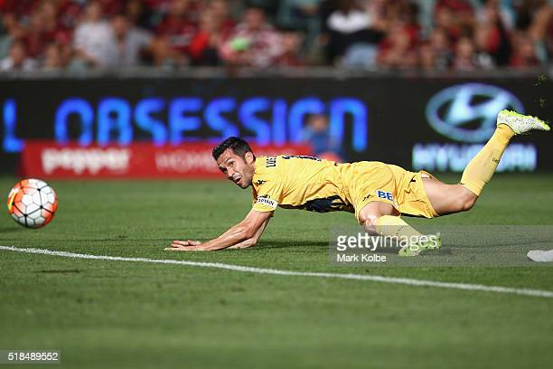 Luis Garcia of the Mariners scores a goal from a diving header during the round 26 ALeague match between the Western Sydney Wanderers and the Central...